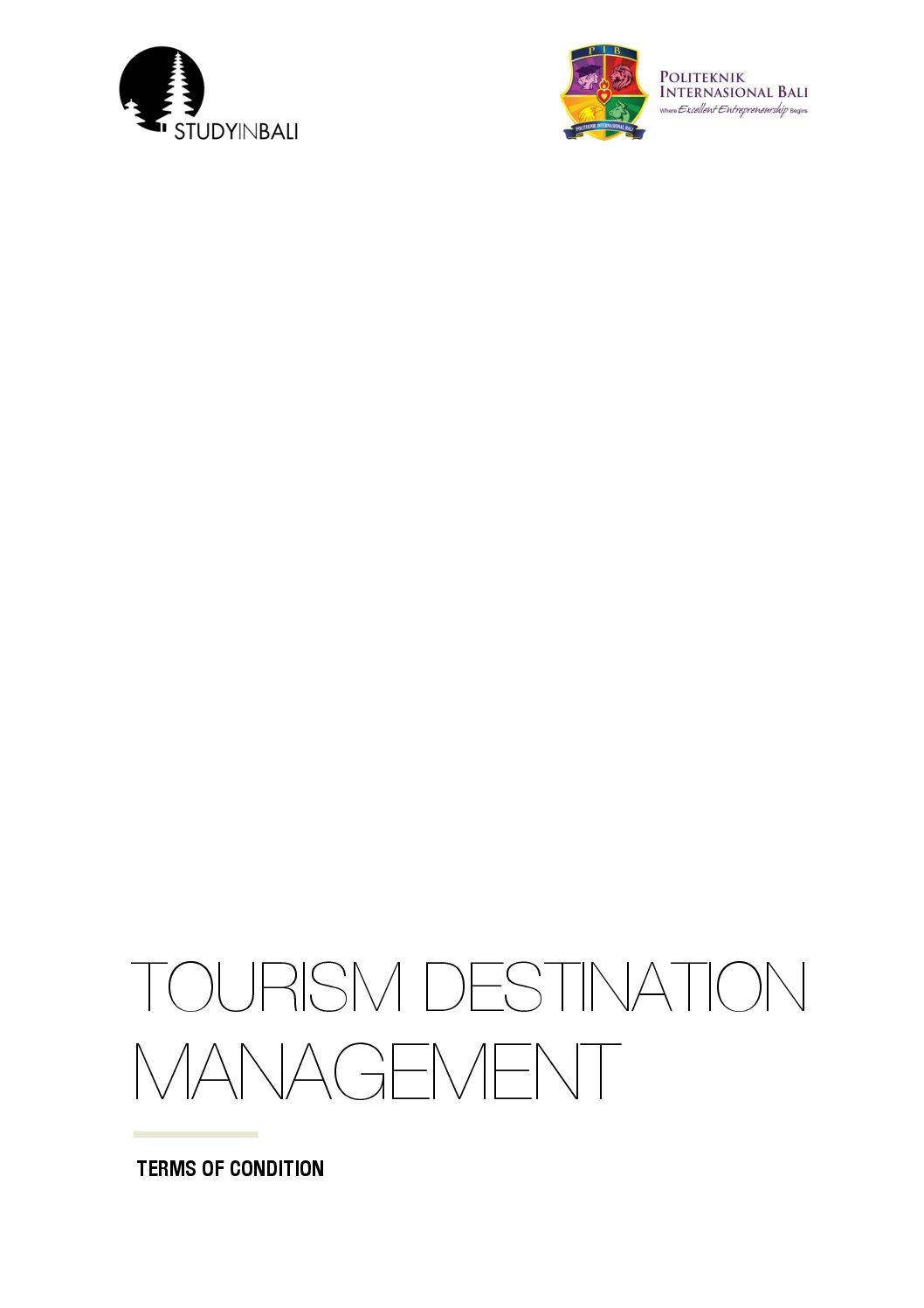 SIB Exotic Tourism Destination Management TOC pdf - Tourism Destination Management